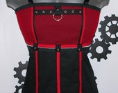 RESERVED for Faboo Fierce Red and Black Mesh Babydoll Corset Top DIY - Junior's size Large