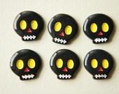 8 pcs Black Skull Yellow Eyes Cabochon (19mm20mm) IK064 (((LAST)))