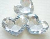 3 pcs High Quality Big 3D Heart Rhinestones/Gems (35mm42mm) Clear