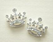 1 pc Gorgeous Crown Metal Motif/Cabochon  (22mm25mm) Silver/Clear Stones