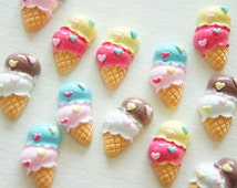 9 pcs Double Scoops Ice Cream Cabochon (12mm22mm) CD395