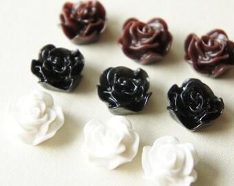 9 pcs Rose Cabochon (16mm) Black/White Set FL060 (((LAST)))