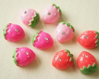 12 pcs Small Puffy Strawberry with Rhinestone (13mm16mm) FR012 (((LAST)))