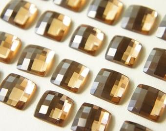 SALE 6 pcs Square Glass Gems/Rhinestones (12mm) LIGHT Colorado Topaz (((LAST)))