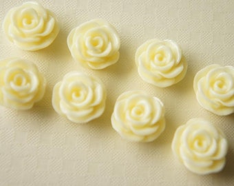 SALE 8 pcs Rose Cabochon (15mm) Ivory White FL129