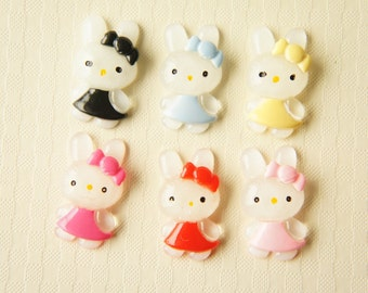 6 pcs Bunny with Bow Cabochon (13mm23mm) DR215