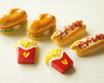 6 pcs Sandwich Hot Dog and Fries Cabochon Set CD211/214/215 (((LAST/ no restock)))