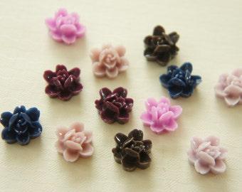 Assorted 12 pcs (6 pairs)  Flower Cabochon (11mm) FL179 (((LAST)))
