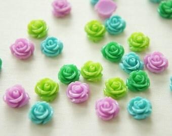 12 pcs Teeny Lovely Color Rose (10mm11mm) FL192 Blue Set
