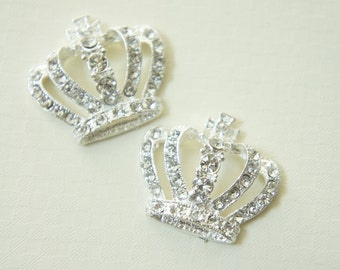 SALE 1 pc BIG Silver plated Metal Crown Motif/Cabochon  CLEAR rhinestones (30mm33mm)