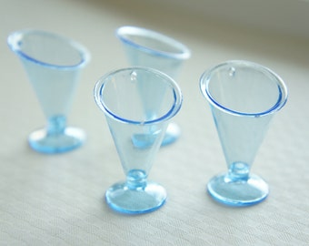 4 pcs Sundae  Cup Charm (H36mm) Blue