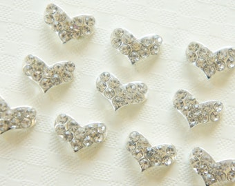 SALE 4 pcs Gorgeous Nail Size Heart Metal Motif (7mm10mm) A Class Rhinestones AZ017  (((LAST)))