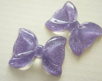 SALE 4 pcs Big Bow Cabochon (41mm53mm) Glitter Purple BW135 (((LAST)))