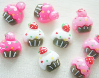 9 pcs Strawberry Cup Cake Cabochon (15mm18mm) CD319