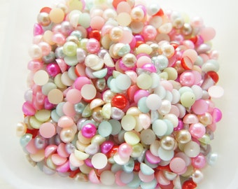 200 pcs Acrylic Pearl Gems/Rhinestones (6mm) Mixed Colors