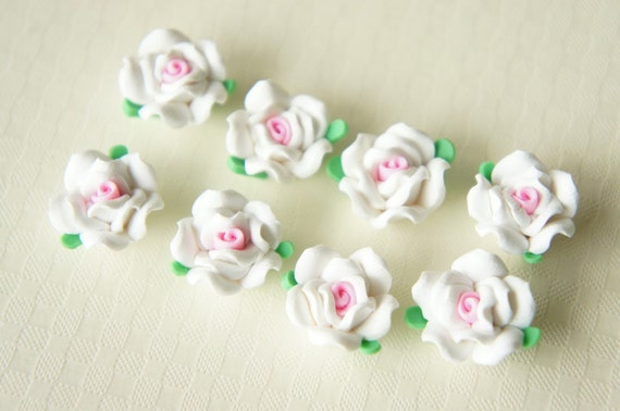 10 pcs Poly Clay Rose Cabochon (15mm) Pure White FM026 (((LAST)))
