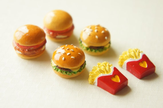 2 Tomato Source Burger and 4  Fries Cabochon Set CD211 ((LAST)))