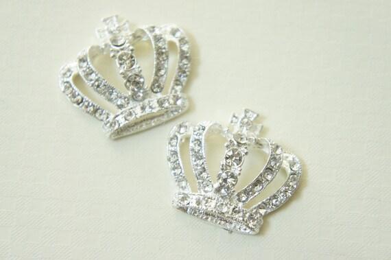 SALE 1 pc BIG Silver plated Metal Crown Motif/Cabochon  CLEAR rhinestones (30mm33mm)