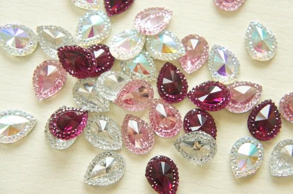 8 pcs Gorgeous Acrylic Drop Rhinestones/Gems (13mm18mm) DR273