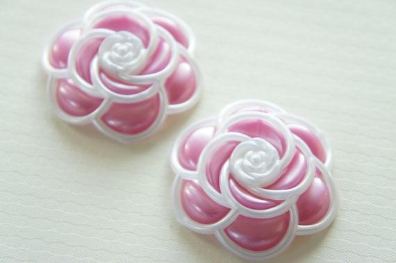 SALE 3 pcs Huge Camellia Cabochon Pearlized White Frame/Pale Pink FL246 (((LAST)))