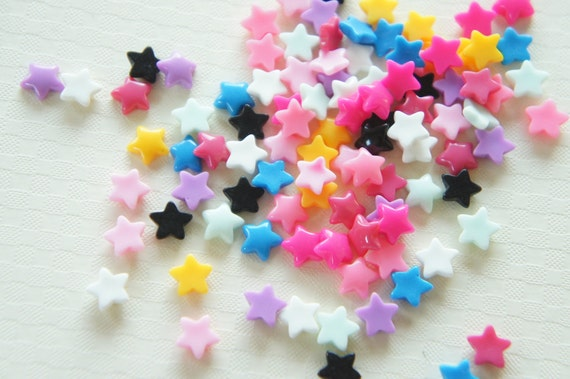Assorted 10 pcss Teeny Star Cabochon (7mm) IK083