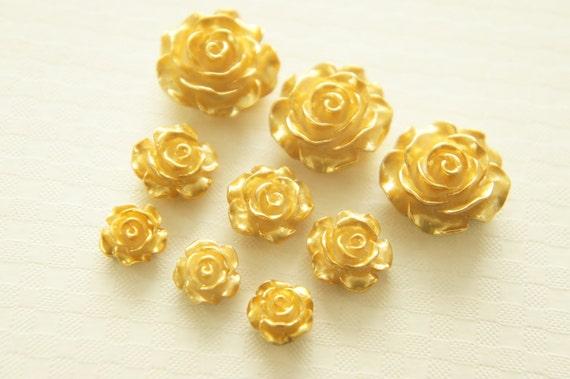 6 pcs Beautiful Rose Cabochons (10mm-19mm)  FL265 2 Sizes/Gold  ((LAST)))
