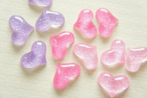 13 pcs Puffy Glitter Heart Cabochon (14mm20mm) IK103 (((LAST)))
