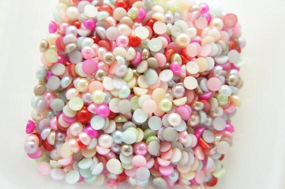 250 pcs Acrylic Pearl Gems/Rhinestones (5mm) Mixed Colors