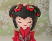 Miniature Kokeshi Doll ,Chic and Sweet, in Red and Green , Unique  Polymer clay Handmade