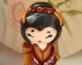 Miniature  Sayonara  Doll,  Diva , in Bourdeaux and Gold Colorful Millefiori Floral Design