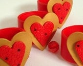 Valentine's Day Gift - Napkin Rings. Romantic.  Red.  Gold. Swarovski crystals. Polymer clay. Handmade home decor