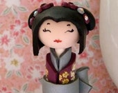 Miniature  Kokeshi Doll , Pure Heart,  in Pansy Purple and Silver , Unique Polymer clay Handmade