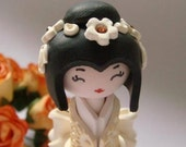 Kokeshi Doll . Miniature . The Bride, in  Golden ivory and White Handmade polymer clay sculpture doll