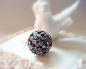 Hedgehog Ring, in Black White and Gold ,Mother's Day gift, Polymer clay Handmade Jewelry