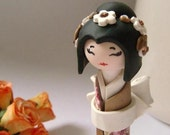 Miniature  Doll, Japanese Doll , Be My Princess,  in Gold and White , Polymer clay Handmade Homedecor