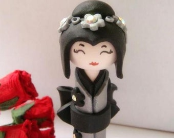 Doll, Miniature Kokeshi Doll , Grey and Black Kimono, Collector Piece Handmade Sculpture Doll