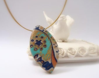 Pendant, Moon River,  Handmade Polymer clay Jewelry