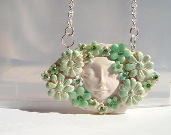 Floral Collage Pendant , White  Mint and Turquoise,  Romantic  Handmade Jewelry,