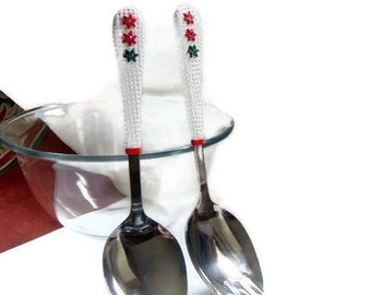 Christmas Salad Serving Set. Red White Green Salad's Fork and Spoon Handmade home decor