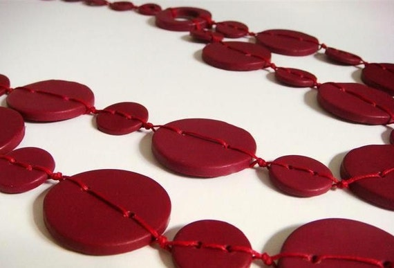 Everyday Love Necklace.  Red Burgundy Necklace.Polymer clay Handmade Jewelry