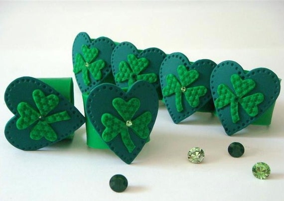 St. Patrick's Day Napkin Rings. Shamrocks. Green. Swarovski crystals. Polymer clay  Handmade home decor