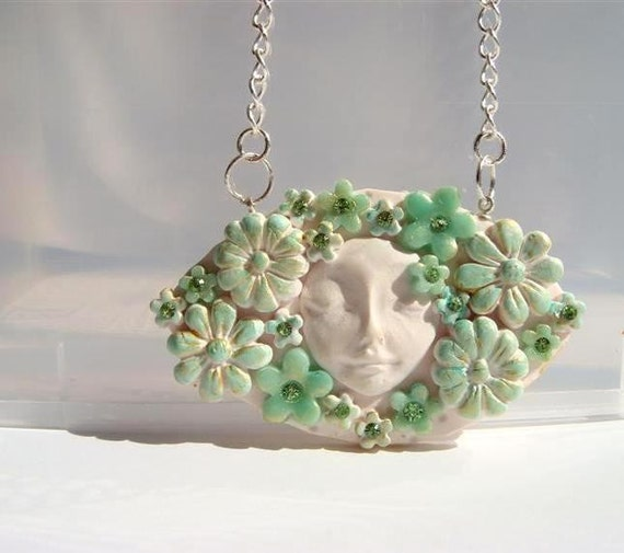 Floral Collage Pendant in White  Mint and Turquoise  Romantic Shabby chic Flowers and Swarovski rhinestones  Polymer clay Handmade Jewelry