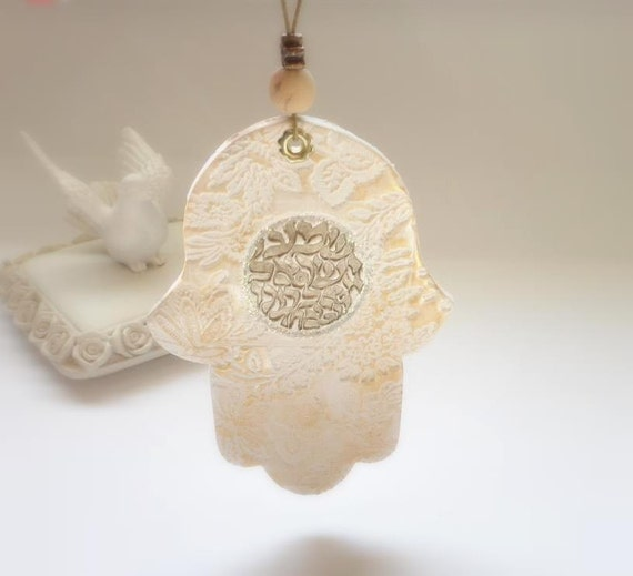 SHEMA  ISRAEL Wall Hanging, Lace Flowers Hamsa , Shema Israel Texture,  Ivory Cream and Golden Shades