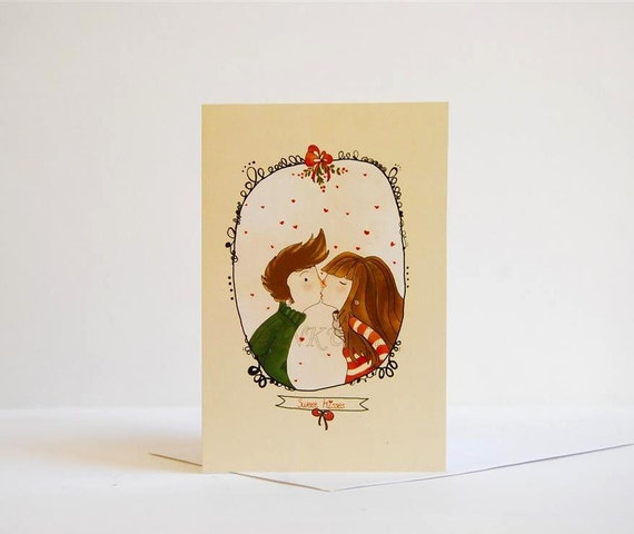 "Greeting Card  - Sweet Kisses -  Blank Card 4 x 6 ""   Print of an Original Illustration"