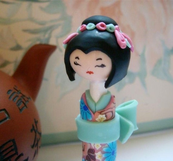 Japanese Doll , Sculpture Doll, Shabby Chic Light  Turquoise and Light Pink Millefiori Flowers