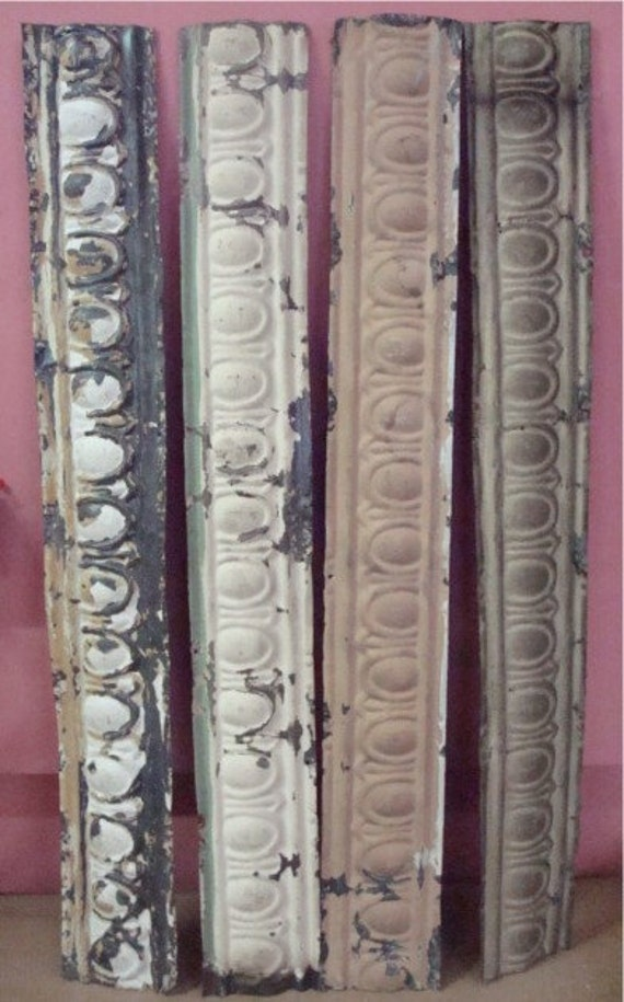 4 Pcs Antique Metal Tin Ceiling Tile Border Trim Decorative
