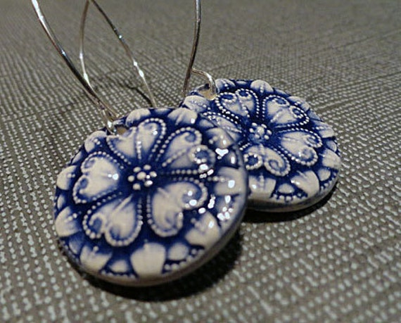 Ceramic Indigo Earrings