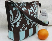 Striped Damask Insulated Lunch Bag in Light Aqua and Brown