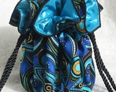Gorgeous Jewelry Travel Pouch in Navy, gold and Turquoise, Tote, Bag, Organizer