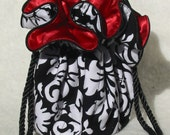 The perfect bridesmaid gift Jewelry Pouch Travel organizer in Black, white and red damask